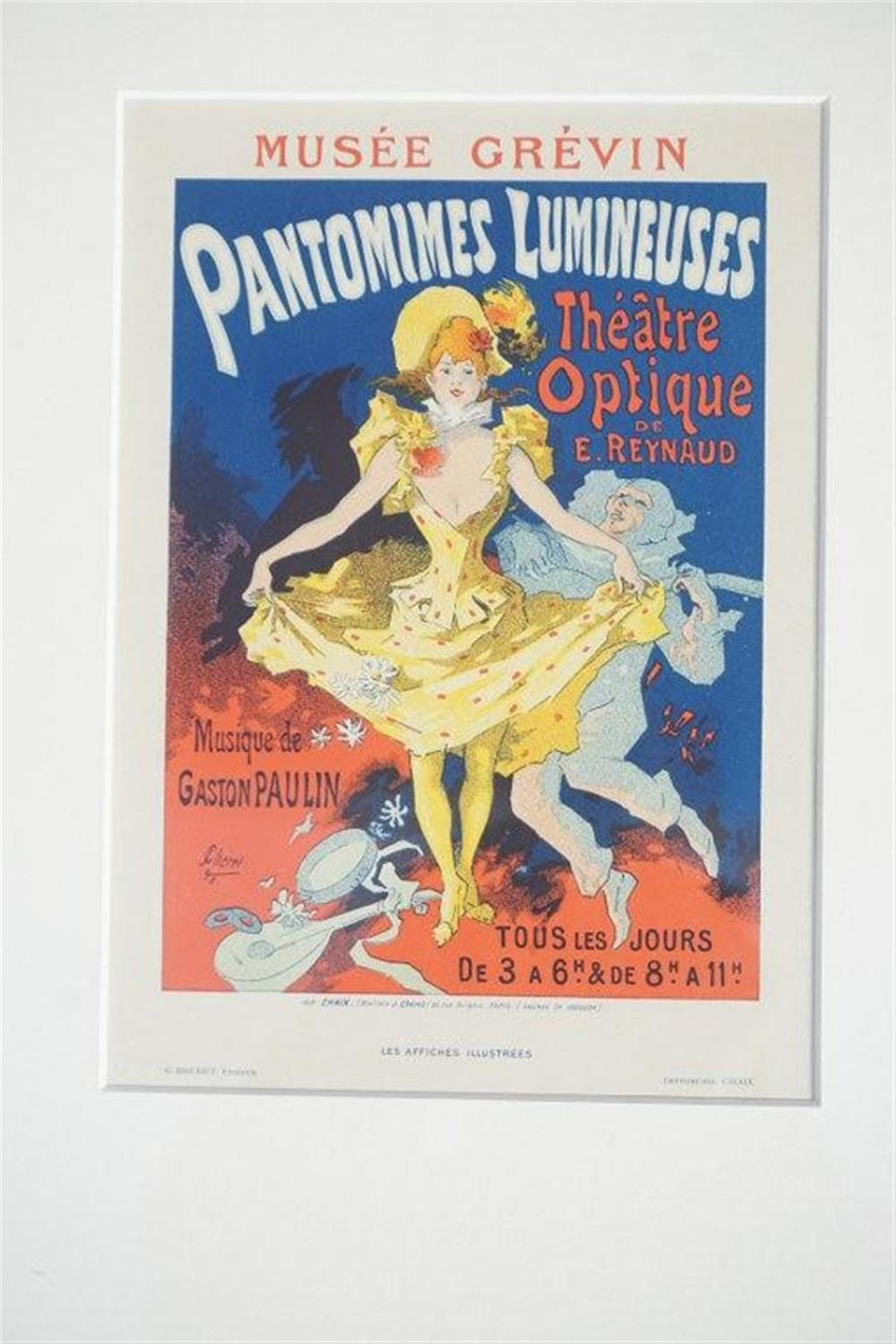 "1896 CHERET PANTOMIMES LUMINEUSES THEATRE OPTIQUE DE E. REYNAUD STONE LITHO POSTER, SHEET SIZE 8 3/4"" X 12 1/4"", EXCELLENT CONDITION, SHRINK WRAPPED AND MATTED, FROM RETIRED DEALERS COLLECTION."