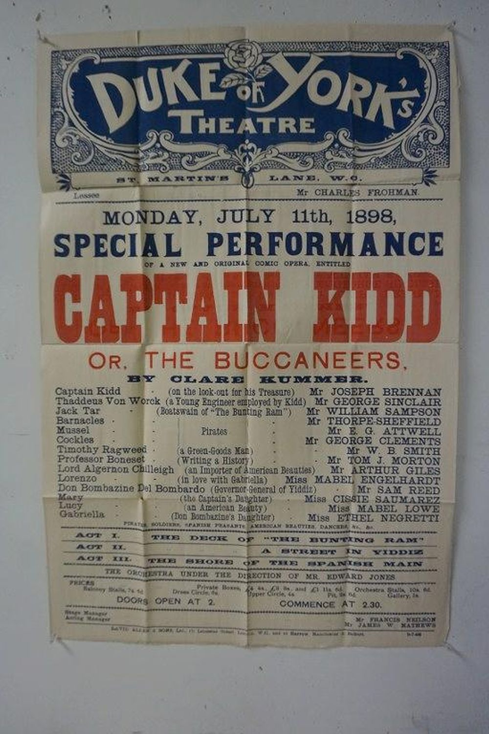 "DUKE OF YORK THEATRE CAPTAIN KIDD BROADSIDE, CIRCA LATE 1890'S. FOLDED, FOUND IN LOCAL ESTATE, MEASURES 30"" X 20"". NICE CONDITION."