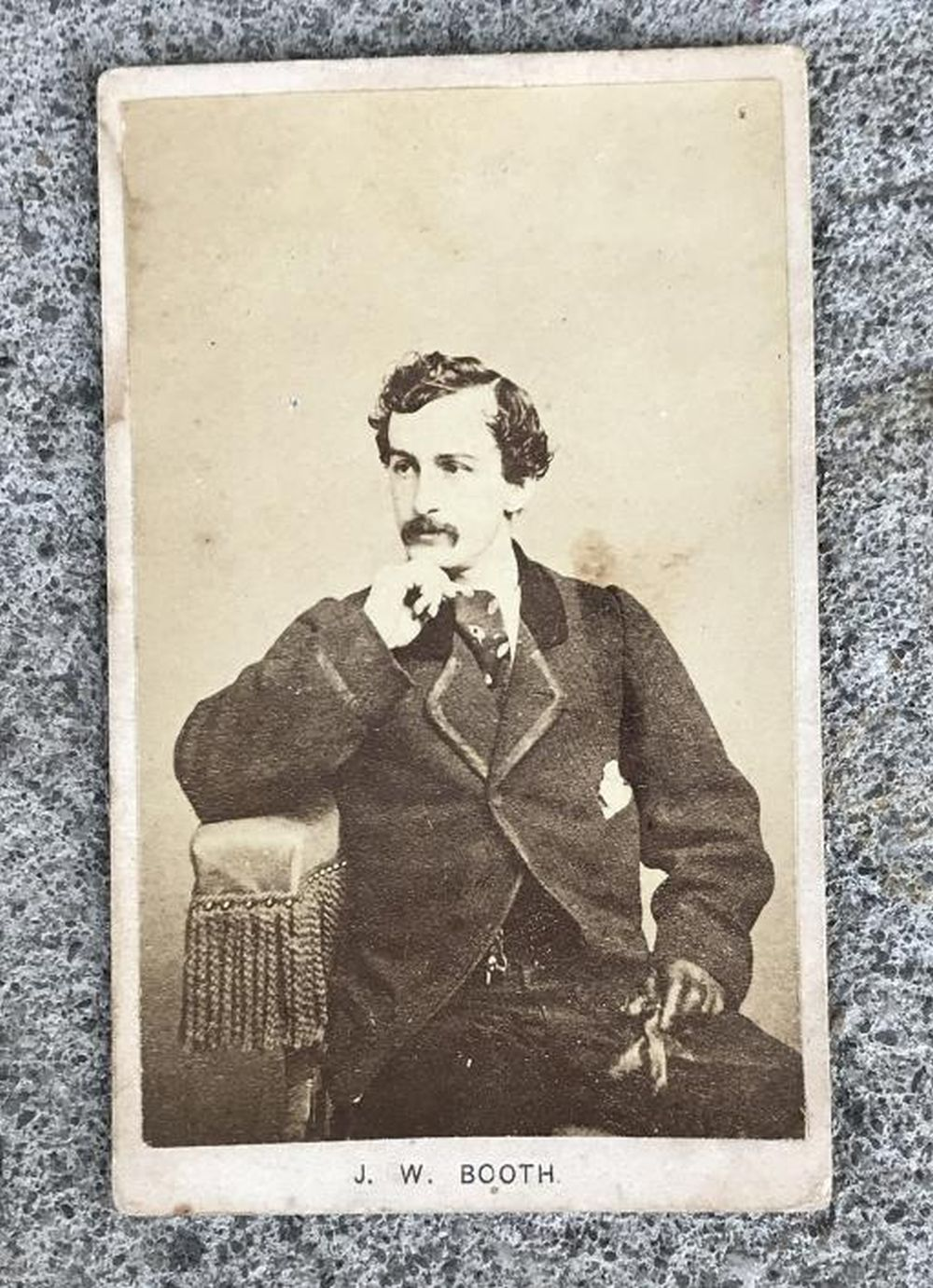 JOHN WILKES BOOTH CDV, IN ESTATE FOUND CONDITION.