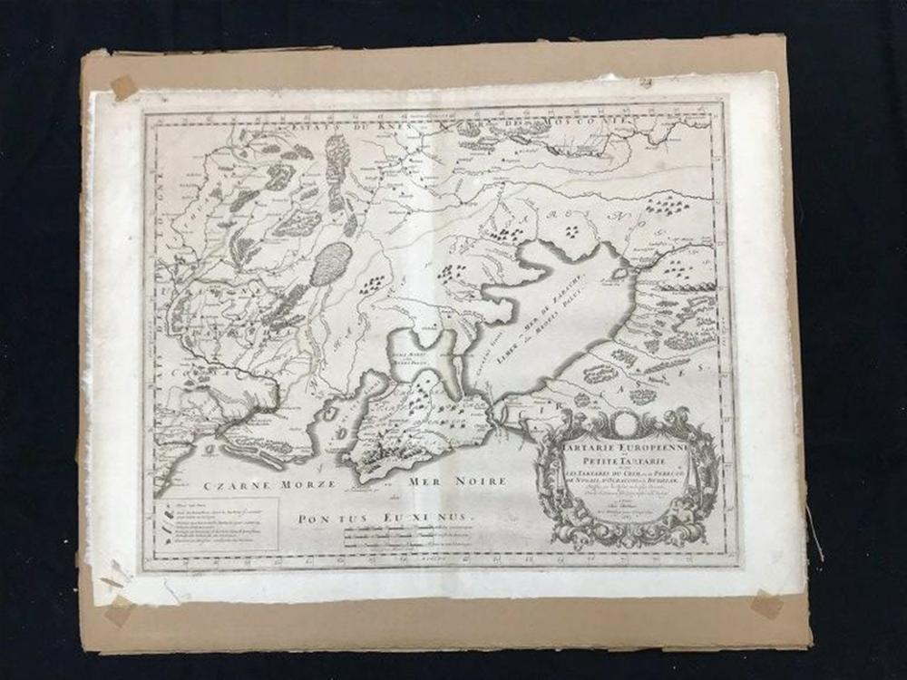 "1665 MAP TARTARIE EUROPEENNE OU PETITE TARTARIE, AS PICTURED, CORNERS TAPED TO CARDBOARD, CAN BE SHIPPED ROLLED, WAS UNDER GLASS. MAP MEASURES 18"" X 24"", SOME LIGHT DISCOLORATION WITH AGE.  FROM HUDSON VALLEY ESTATE?"