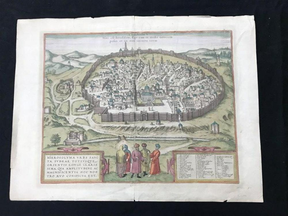 "EARLY HANDCOLORED MAP (JERUSALEM ) MEASURES 16"" X 20 1/2"",  FROM LOCAL ESTATE?."
