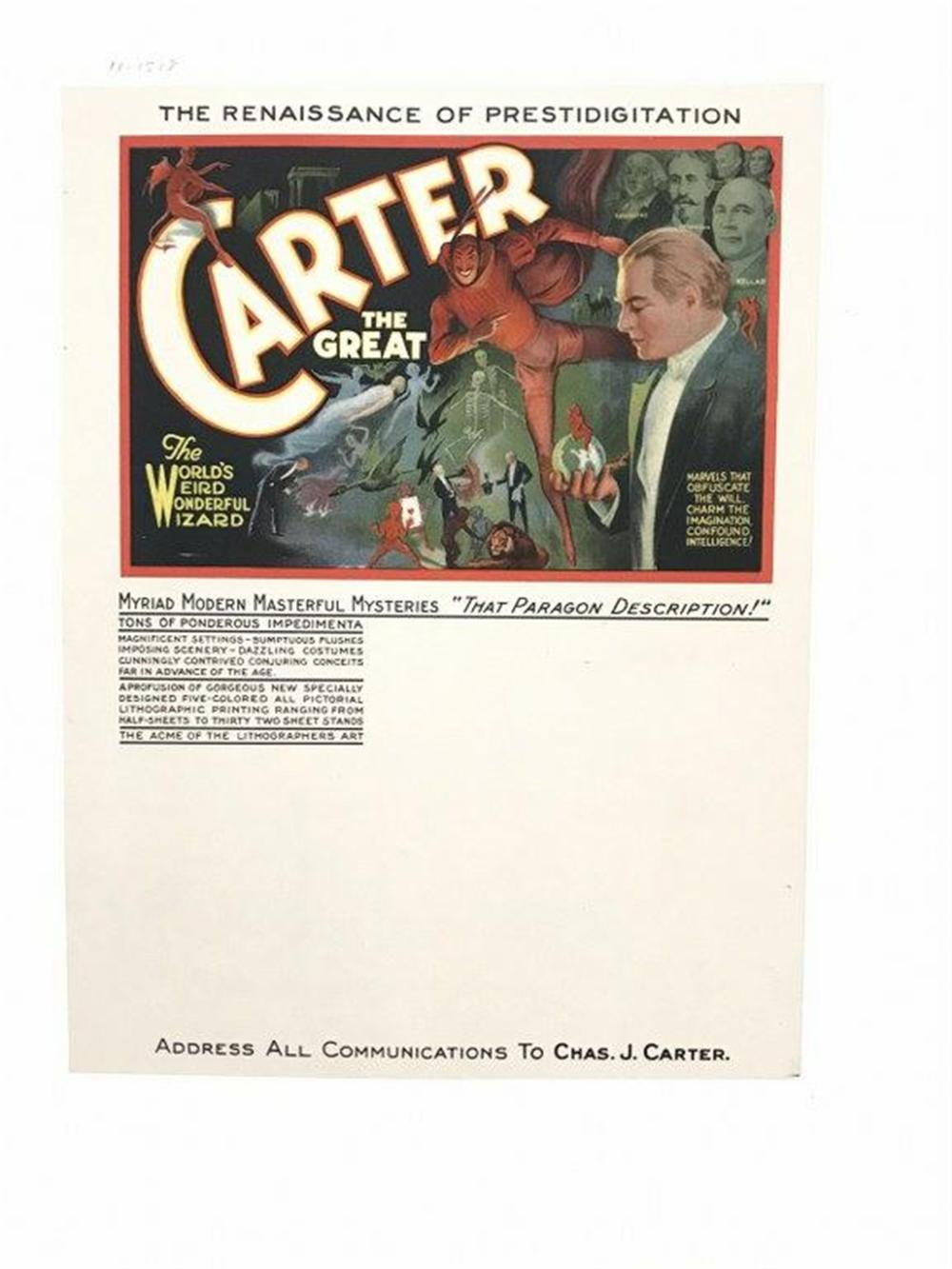 "CARTER THE GREAT MAGICIAN SMALL POSTER BROADSIDE, LINEN BACKED, CIRCAA 1920'S, MEASURES 11"" X 8 1/2"", VERY NICE CONDITION."