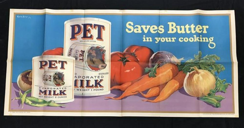 "1926 PET EVAPORATED MILK LITHO POSTER, VERY NICE CONDITION, MEASURES 28"" X 60"", ARTIST IS MARTIN KAISER."