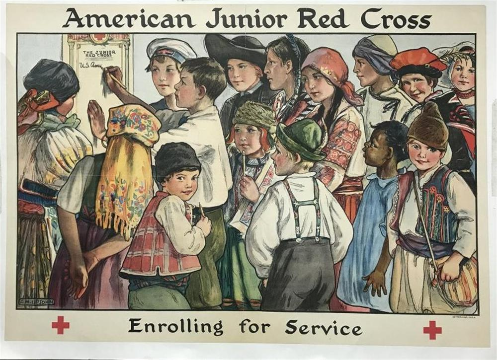 "AMERICAN JUNIOR RED CROSS WW I POSTER, LINEN BACKED, VERY NICE CONDITION, ARTIST IS A M UPJOHN, KETTERLINUS, PHILADELPHIA, MEASURES 21"" X 30""."