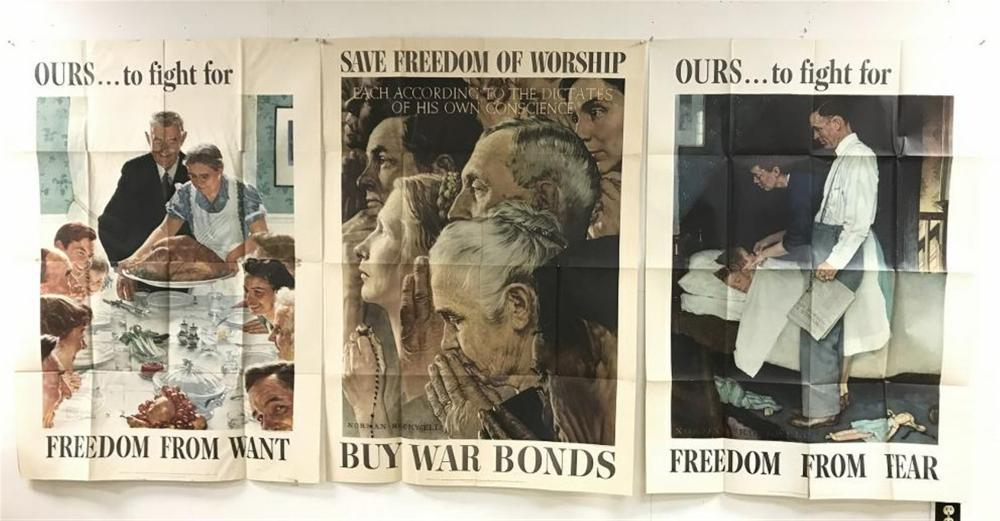 "(3) NORMAN ROCKWELL WW II LARGE POSTERS, THEY ALL MEASURE 55 1/2"" X 40"". NICE CONDITION, SOME CREASE SEPARATIONS & LIGHT WATER STAINS IN SOME SPOTS??"