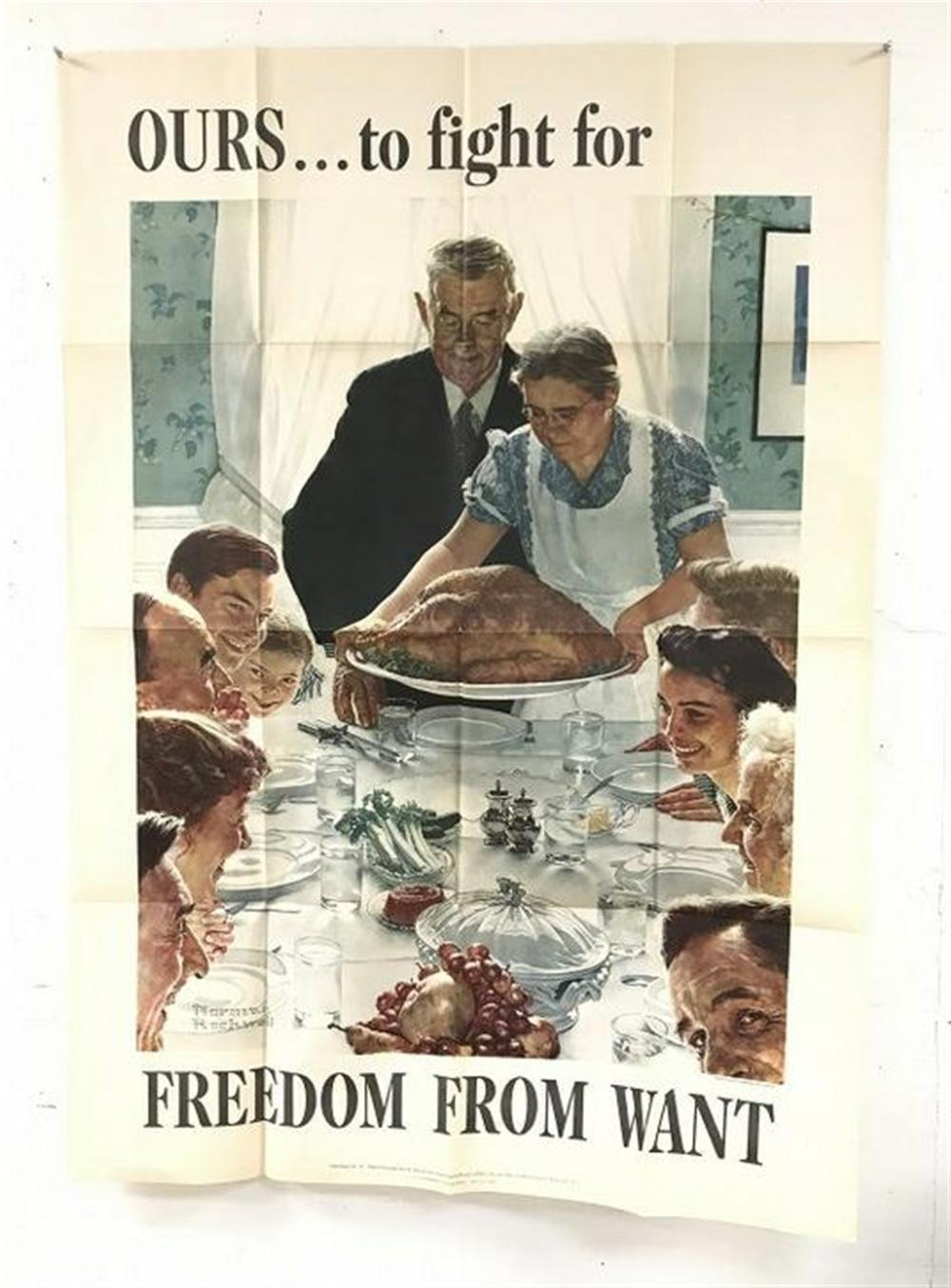 "NORMAN ROCKWELL WW II POSTER OURS?TO FIGHT FOR FREEDOM TO WANT, MEASURES 55 1/2"" X 40"". NICE OVERAL CONDITION?.."
