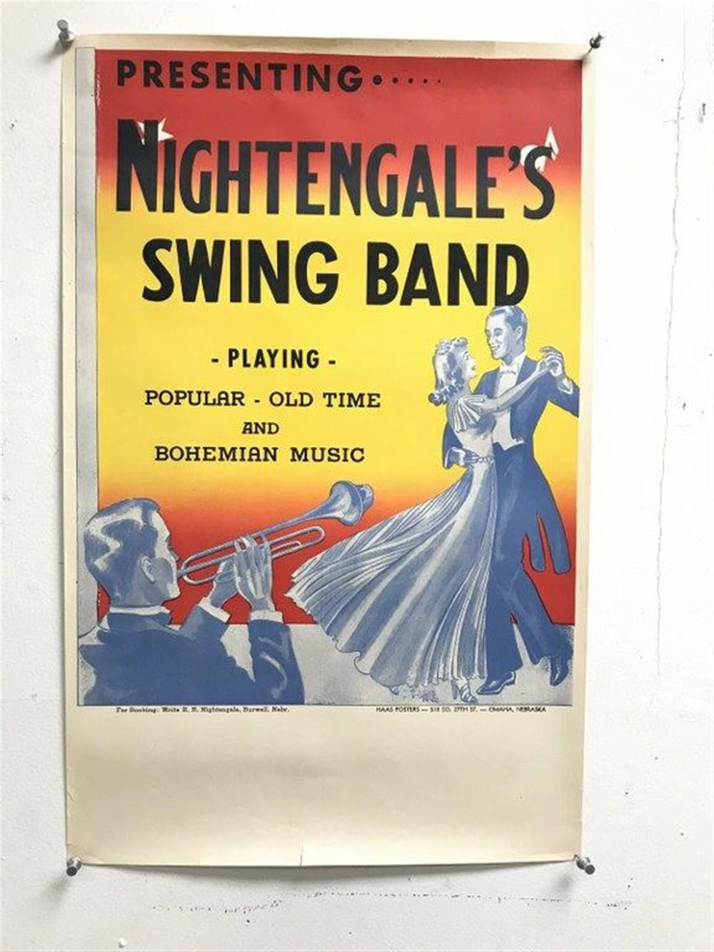 "(5) CIRCA 1920'S NIGHTENGALE'S SWING BAND POSTERS, HAAS POSTERS OMAHA, NEBRASKA, FOR BOOKING WRITE R R NIGHTENGALE, BURWELL, NEBRASKA. THEY MEASURE 22"" X 14"", ROLLED AND IN NEVER USED CONDITION."