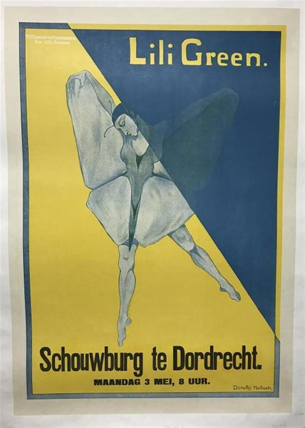 "DUTCH DANCE POSTER CIRCA 1920, LILI GREEN ARTIST IS DOROTHY MULLOCK, LINEN BACKED, POSTER MEASURES 34 1/2"" X 24"", NICE CONDITION."