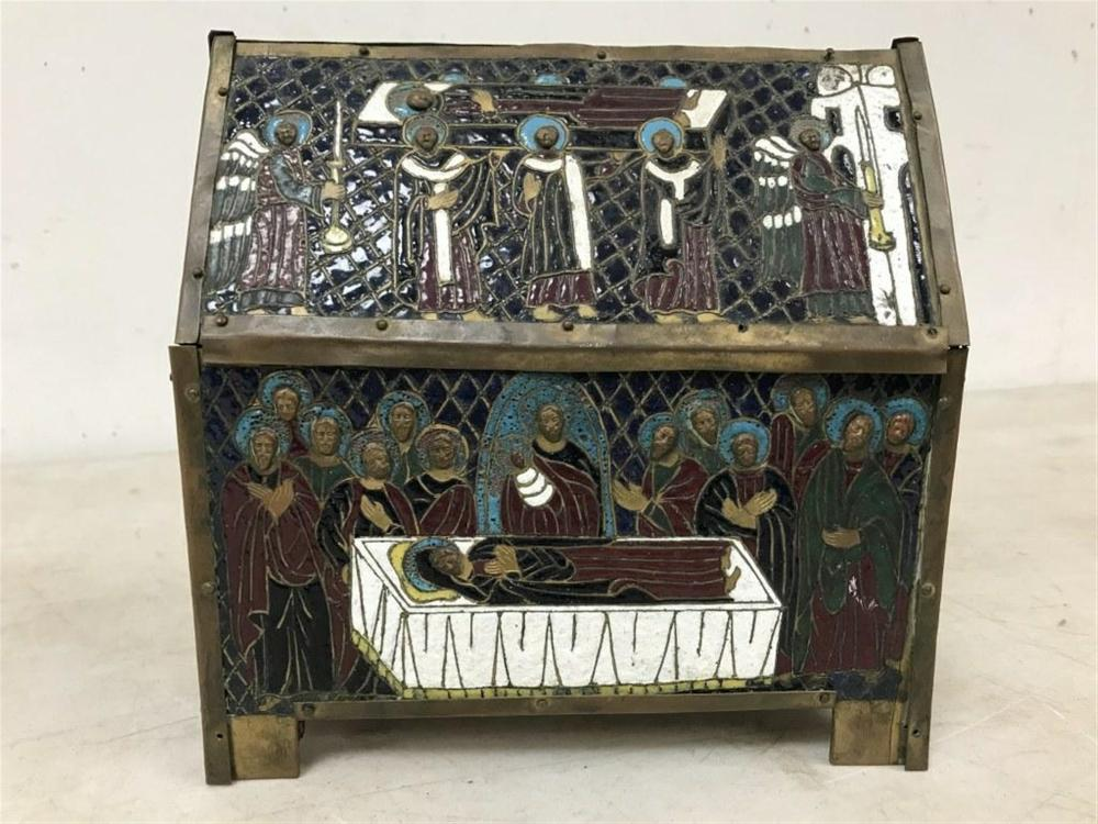 "FINE 16TH C  CONTINENTAL CHAMPLEVE ENAMEL RELIQUARY BOX, SARCOPHAGUS-SHAPED DPICTING THE DORMITION OF MARY, MEASURES 8"" X 4"". COMES FROM A SAFE OF AN UPSTATE, N.Y. MONASTERY, AND HAS BEEN STORED THERE OVER 70 YEARS?.."