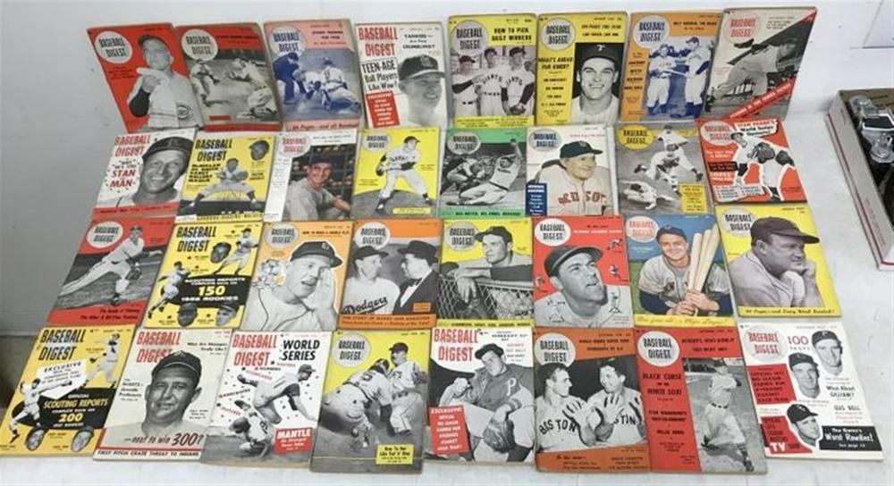 (32) 1940'S & 50'S BASEBALL DIGEST MAGAZINES, MANY HOF STARS ON COVERS, OVERALL NICE CONDITION, AS FOUND.