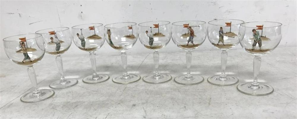 "(8) CIRCA 1920'S STEMWARE WITH GOLFERS ON ONE SIDE AND GOLF FLAG ON OTHER SIDE, ALL IN NICE CONDITION, MEASURE 4 1/2"" HIGH."