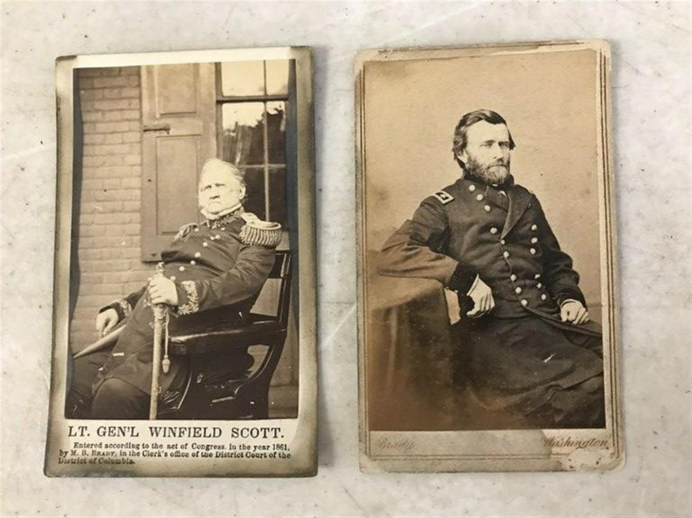 (2) M BRADY CDV'S OF GENERAL GRANT & LT. GENERAL WINFIELD SCOTT, BOTH IN AS FOUND CONDITION, FOUND IN A BOX OF MAGIC LANTERN SLIDES, ALONG WITH OTHER IMAGES WE WILL LIST.