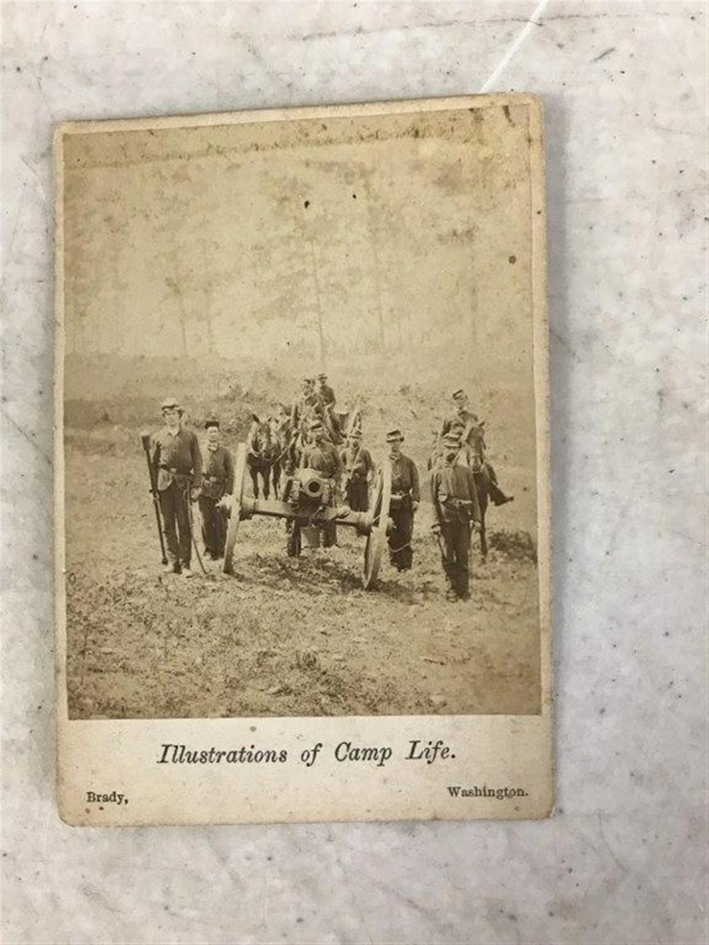 "M BRADY ILLUSTRATIONS OF CAMP LIFE PHOTOGRAPH, MEASURES 3 7/8"" X 2 5/8"", ESTATE FOUND CONDITION, LIKE OTHERS WE WILL BE LISTING.  ON BACK IN PENCIL IT SAYS SHERMANS BATTERY?"