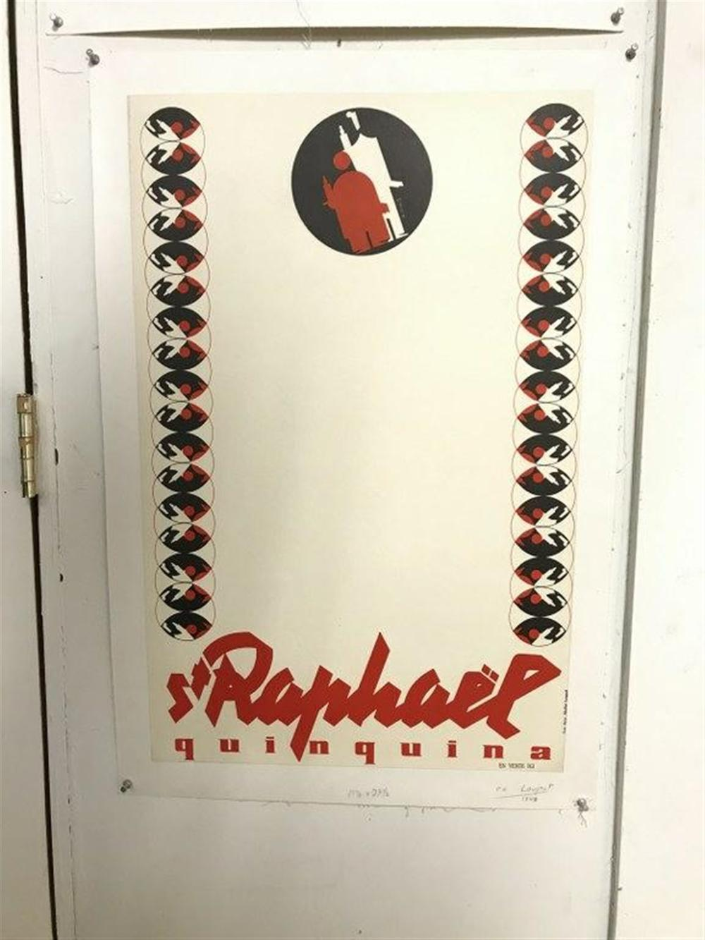 "POSTER  ST. RAPHAEL QUINQUINA 1942, LINEN BACKED, ARTIST IS LOUPOT, MEASURES 23 1/2"" X 15""."