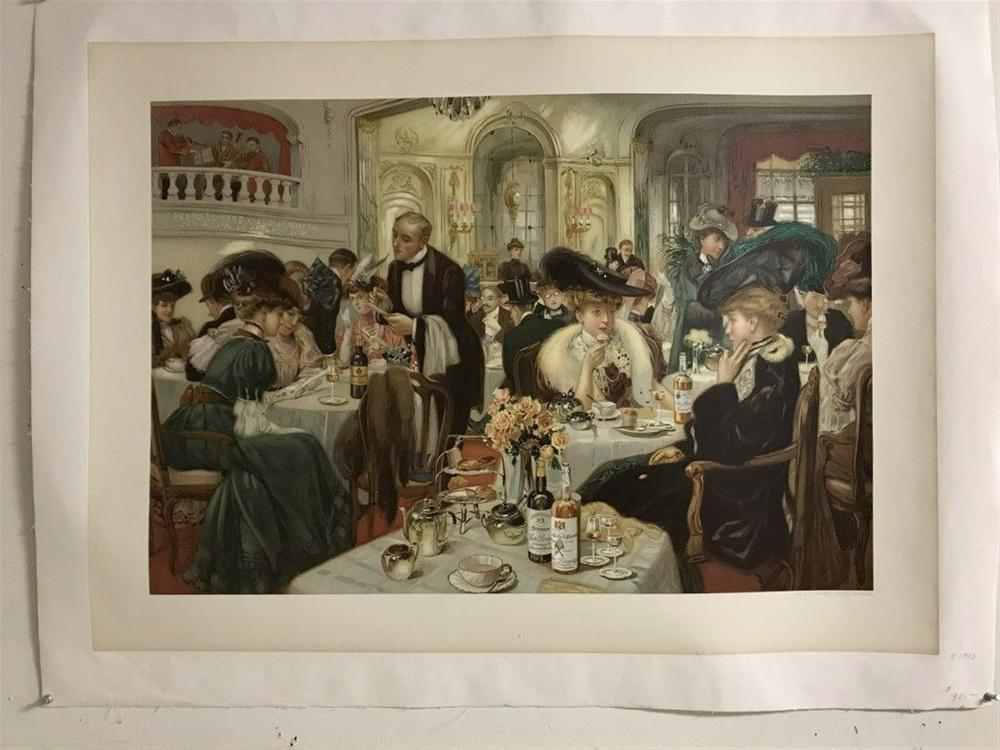 "POSTER- LITOGRAPH CIRCA 1903 PARIS DINING ROOM WITH PEOPLE, LINEN BACKED, MEASURES 22"" X 28 1/2"", LITHO DE RYCKER & MENDEL, BRUXELLES."