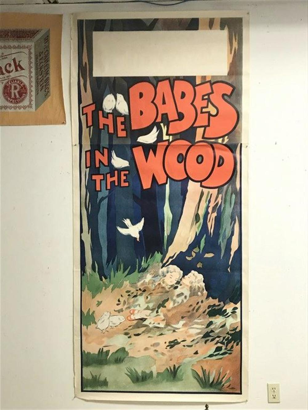 "POSTER- CIRCA 1900 2 SHEET THEATRE TITLED THE BABES IN THE WOOD, WONDERFUL BRIGHT GRAPHICS, MEASURES 87"" X 40"", NICE OVERALL CONDITION, CAN SHIP ROLLED."