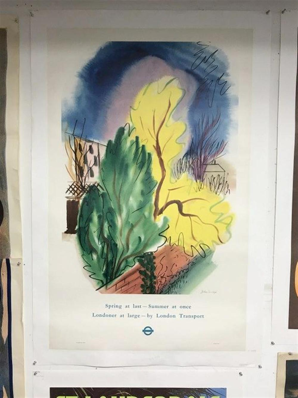 "POSTER- LONDON TRANSPORT TRAVEL POSTER, SPRING AT LAST-SUMMER AT ONCE LONDONER AT LARGE- BY LONDON TRANSPORT, LINEN BACKED, CIRCA 1948, MEASURES 40"" X 25"", ARTIST IS JOHN FARLEIGH."