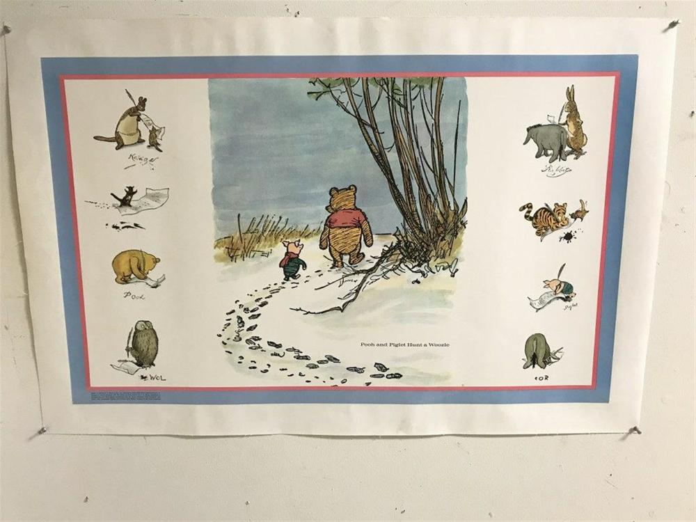 "POSTER- 1975 WINNIE THE POOH AND PIGLET HUNT A WOOZIE, LINEN BACKED, MEASURES 20"" X 32""."