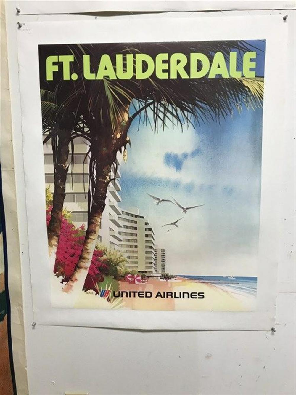 "POSTER- UNITED AIRLINES FT. LAUDERDALE, LINEN BACKED, MEASURES 28"" X 22 3/4"". ARTIST IS HEATH. CIRCA 1970?."