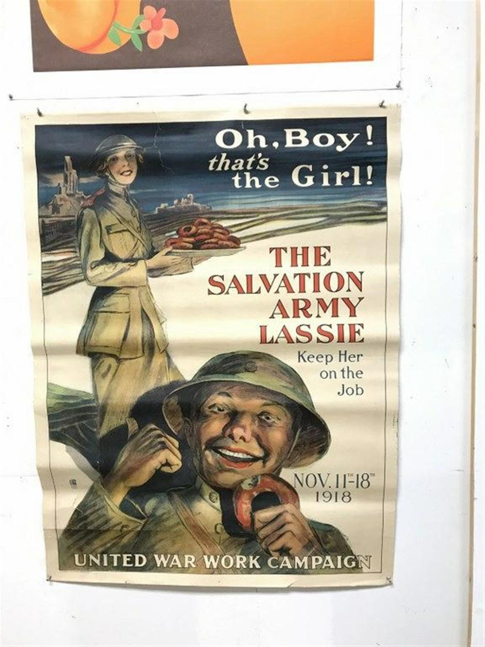 "POSTER- WW I, UNITED WAR WORK CAMPAIGN, GREAT GRAPHICS, SOME TEARS IN PAPER ON TOP AND BOTTOM BORDERS, POSTER MEASURES 40"" X 29"", CAN SHIP ROLLED."