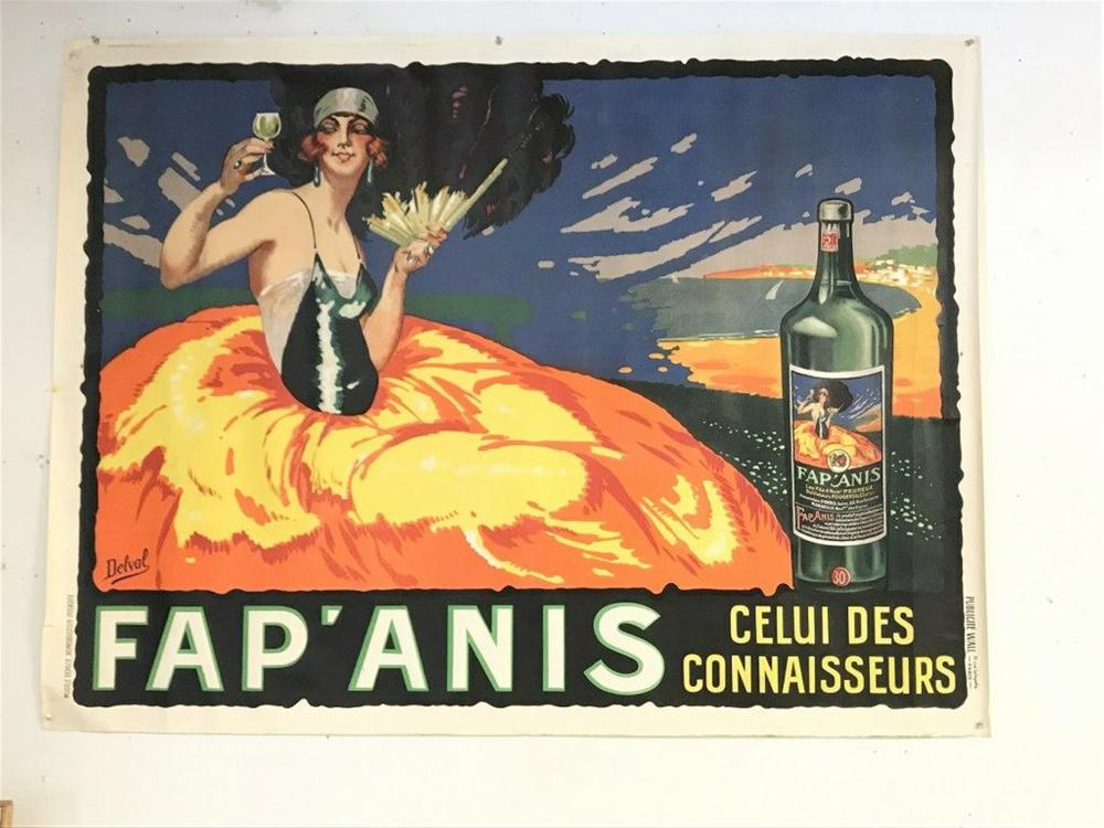 "POSTER- LARGE FRENCH FAP'ANIS CELLUI DES CONNAISSEURS, ARIST IS DELAVAL, POSTER MEASURES 48"" X 64"", A FEW SMALL BORDER TEARS, CAN SHIP ROLLED.  CIRCA 1920'S?."