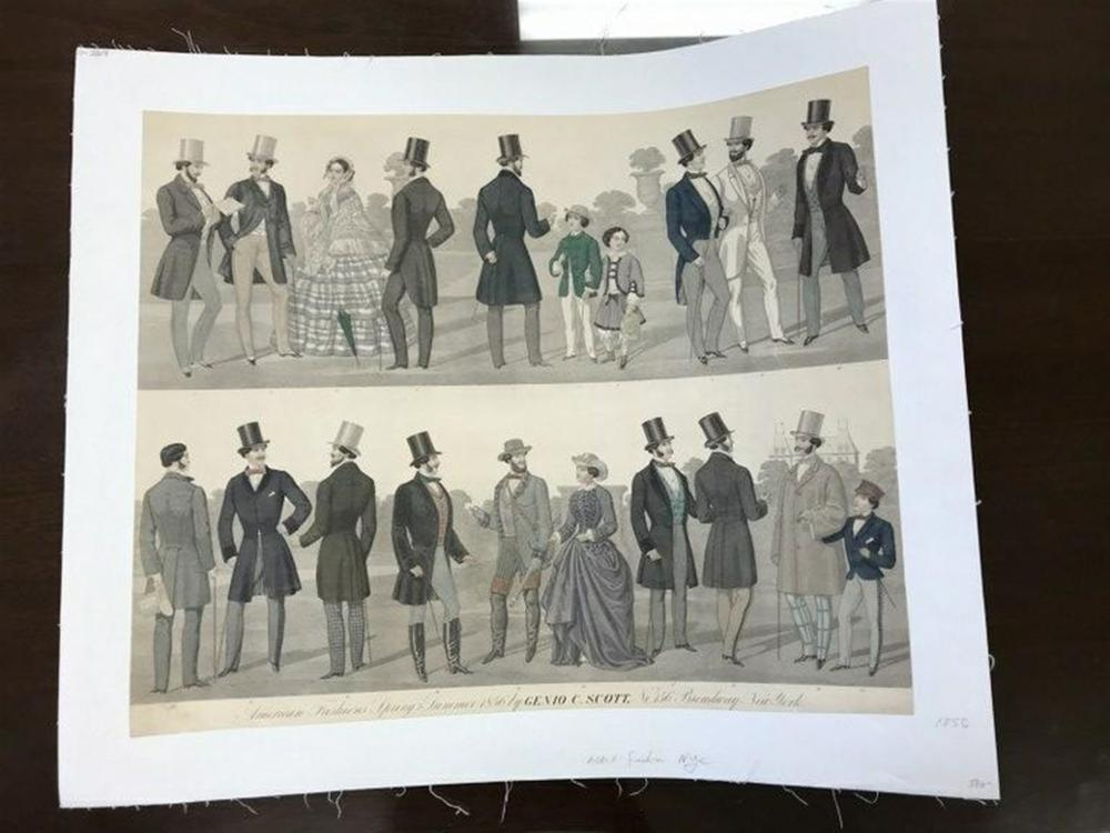 "POSTER- CIRCA 1870 MEN'S FASHION, NYC BY GENIO SCOTT. LINEN BACKED, MEASURES 18 1/2"" X 23""."