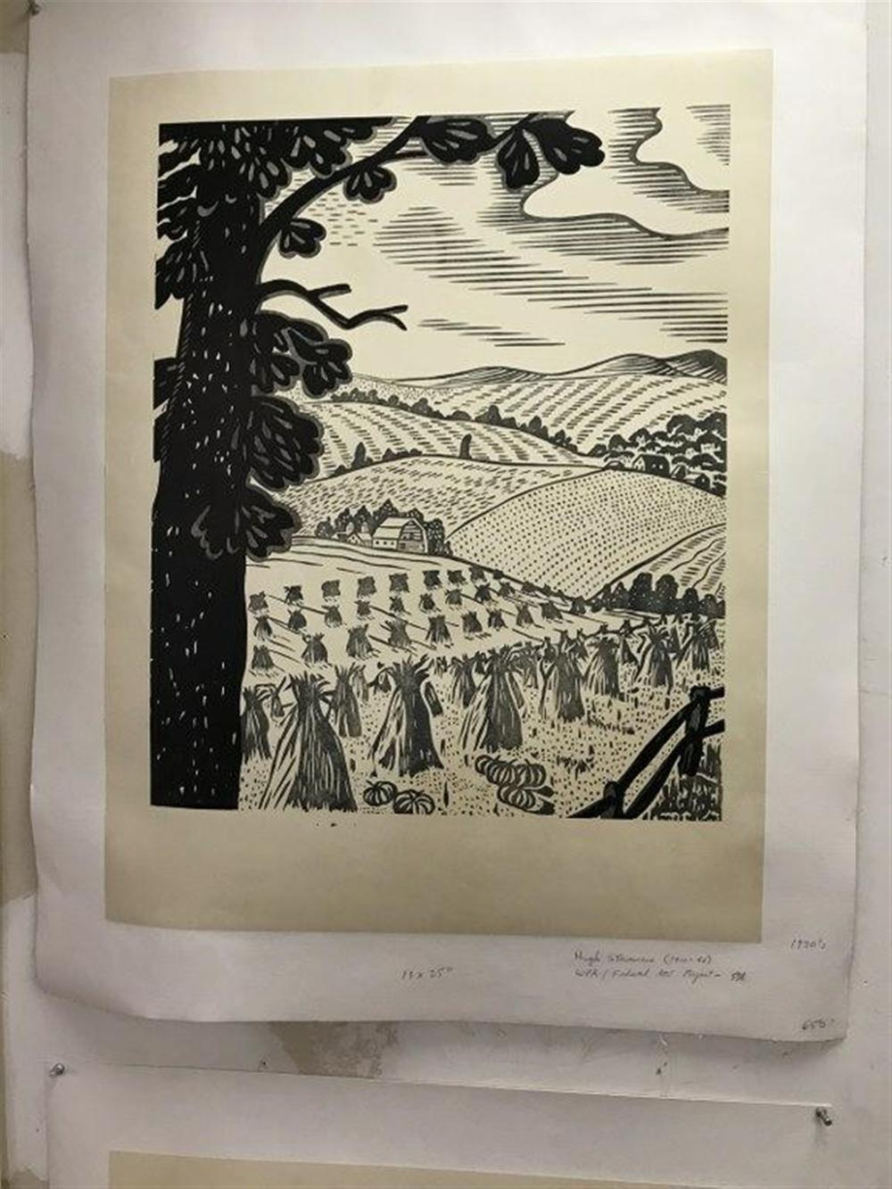 "POSTER- HUGH STEVENSON WPA CIRCA 1930'S, LINEN BACKED, ROLLING HILLS, FARM AND CROPS, POSTER MEASURES 25"" X 19""."