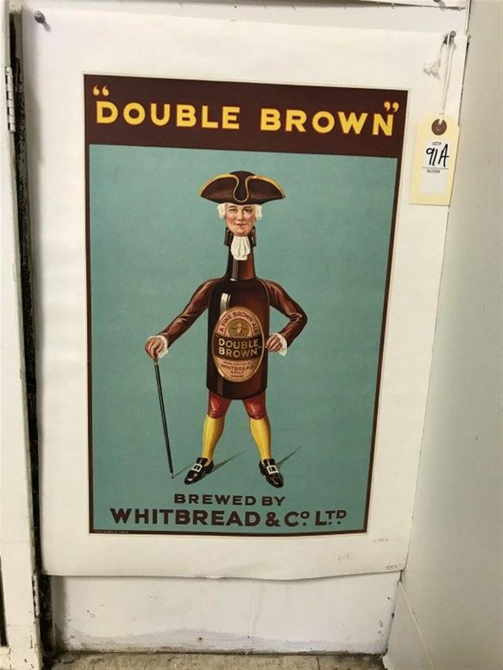 "DOUBLE BROWN BROWN ALE BEER LITHO POSTER, LINEN BACKED, CIRCA 1925, FROM COLLECTION WE ARE SELLING, MEASURES 18 1/2"" X 12""."