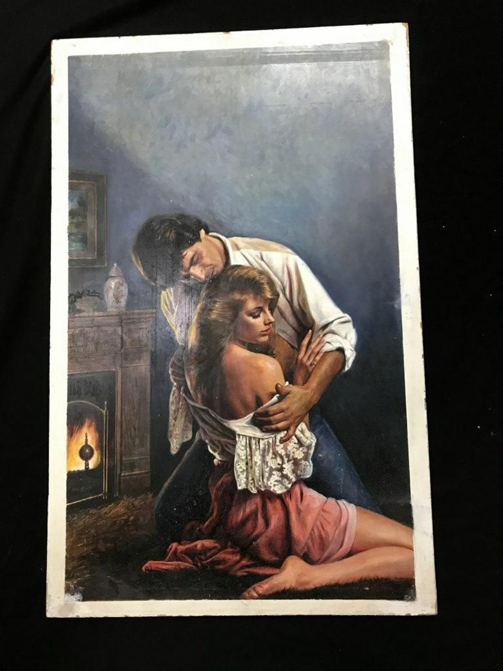 "ORIGINAL ROMANCE NOVEL ILLUSTRATION FOR FRONT COVER, ON BACK IS WRITTEN BANTAM BOOKS, S. ASSEL (STEVEN ASSEL ?) BOARD MEASURES 30"" X 19"", FROM PRIVATE COLLECTION WE ARE SELLING."