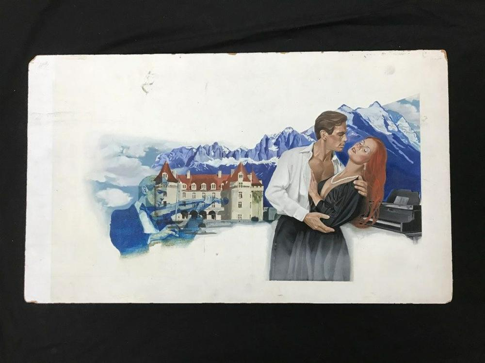 "ORIGINAL ROMANCE NOVEL ILLUSTRATION FOR FRONT COVER, SIGNED ILLEGIBLY AS PICTURED. FROM PRIVATE COLLECTION WE ARE SELLING, MEASURES 19"" X 32"", ON BOARD."