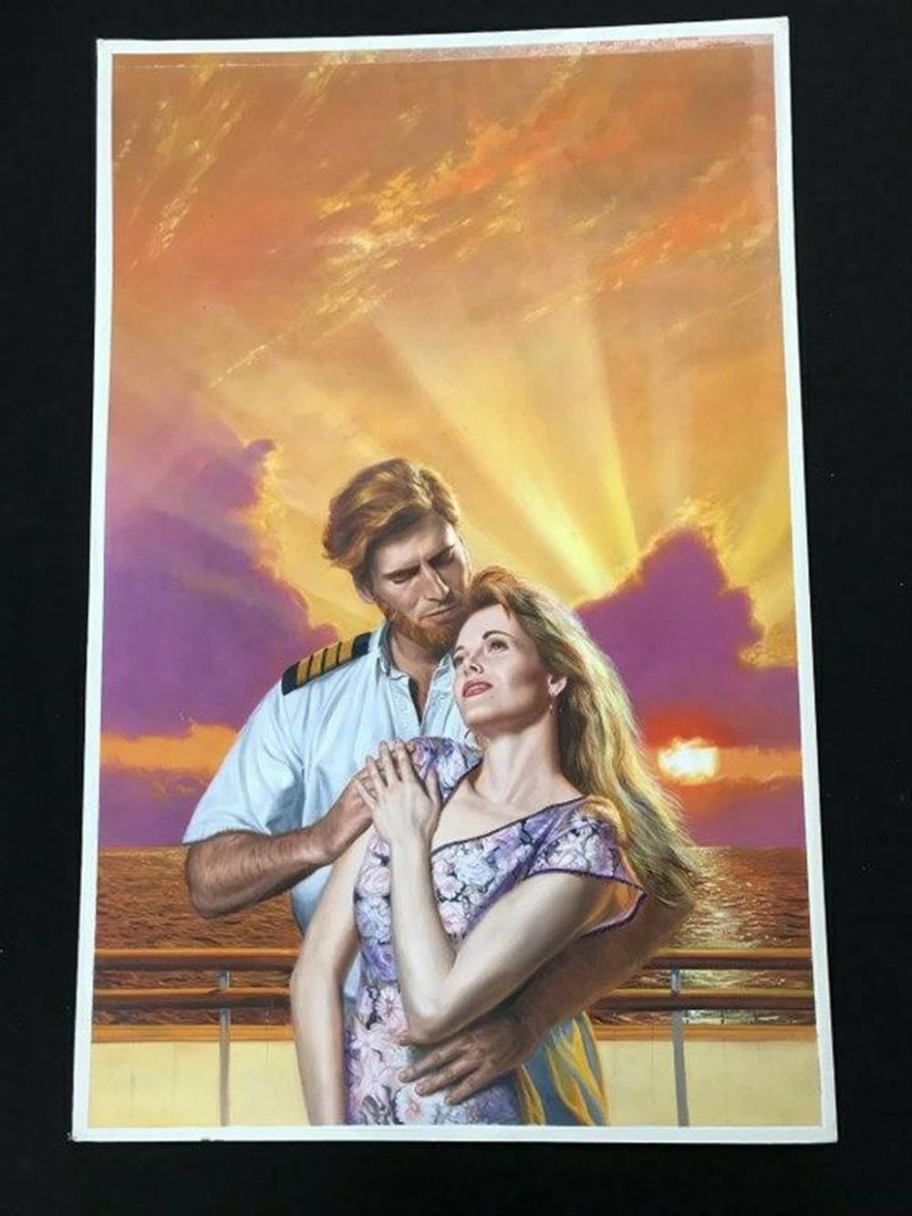 "ORIGINAL ROMANCE NOVEL COVER ILLUSTRATION, FROM COLLECTION WE ARE SELLING, UNSIGNED, LOOKS IN THE MANNER OF BARNETT PLOTKIN, ARTIST BOARD MEASURES 37"" X 24""."