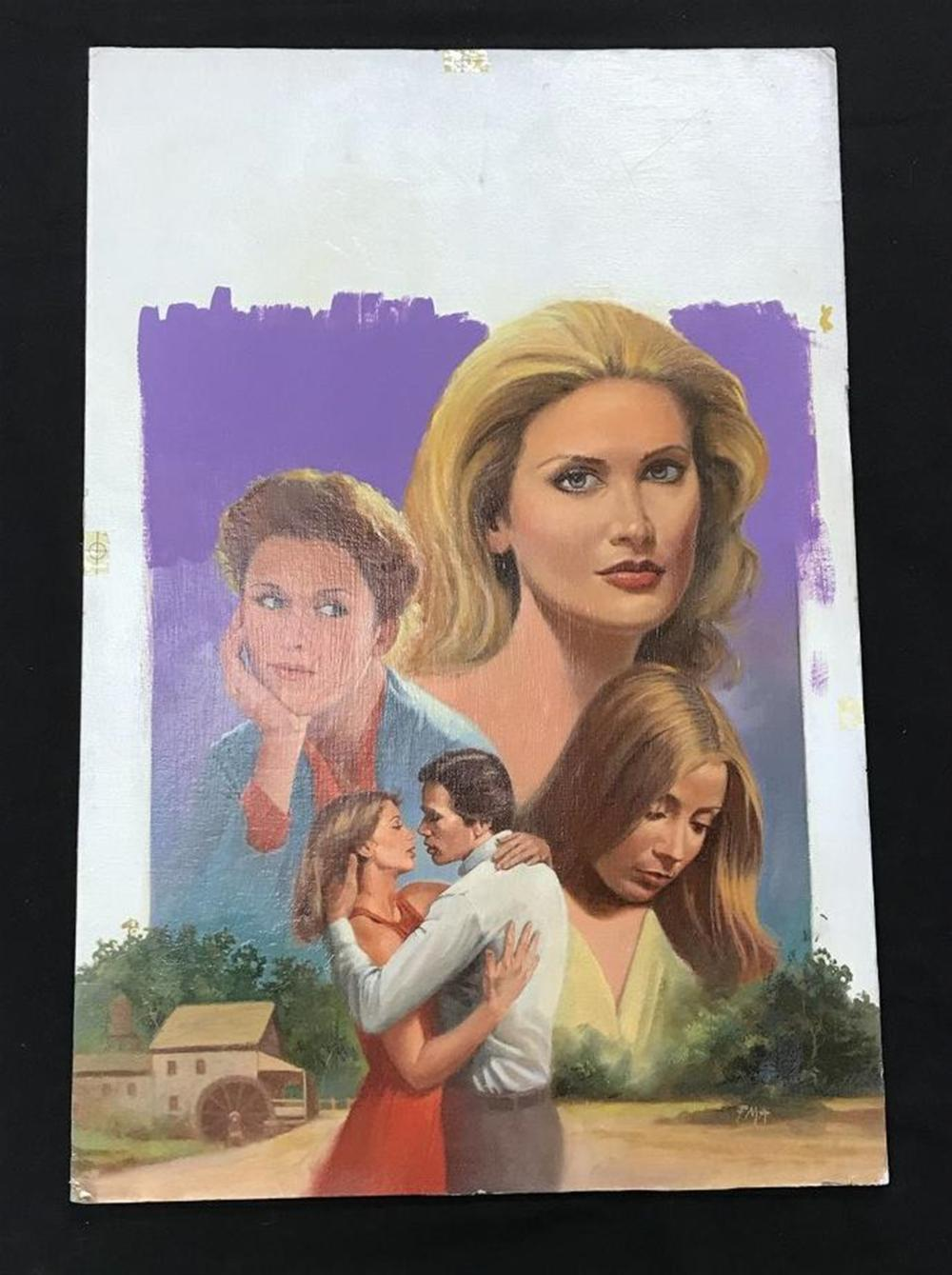 "ORIGINAL ROMANCE NOVEL COVER ILLUSTRATION TITLED BELIEVING IN GIANTS, OCTOBER 1978, ARTIST INITIALED FMA, ARTIST BOARD MEASURES 23 1/2"" X 1"".  FROM PRIVATE COLLECTION WE ARE SELLING."