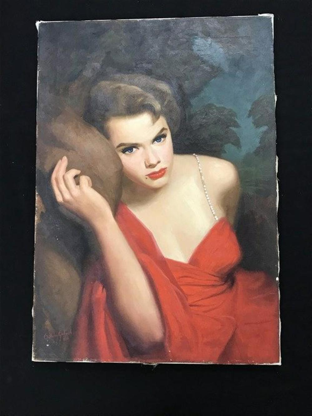 "ORIGINAL O/C ROMANCE NOVEL ILLUSTRATION FOR COVER, SIGNED ANTHONY GABRIELE, 5/60, CANVAS MEASURES 26"" X 18"", FROM PRIVATE COLLECTION WE ARE SELLING?"
