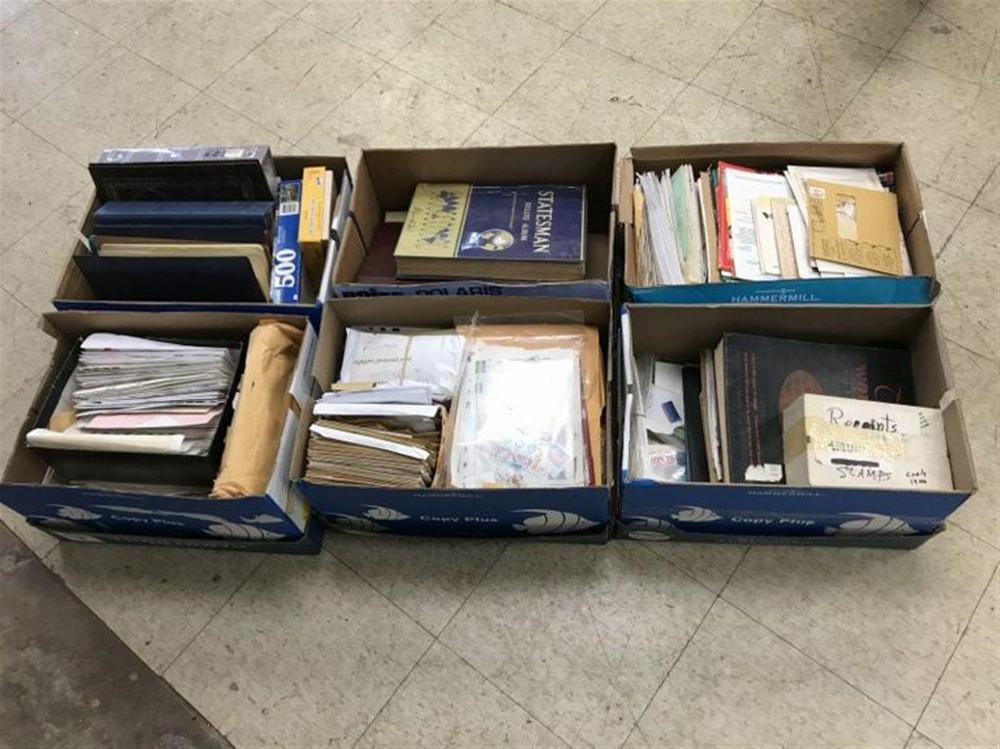 (6) BOXES FULL OF US & FOREIGN STAMPS, LOOSE, USED, ON ENVELOPES, ETC. GOOD LOT FOR SOMEONE TO SORT OUT?..FROM LOCAL HOME?..