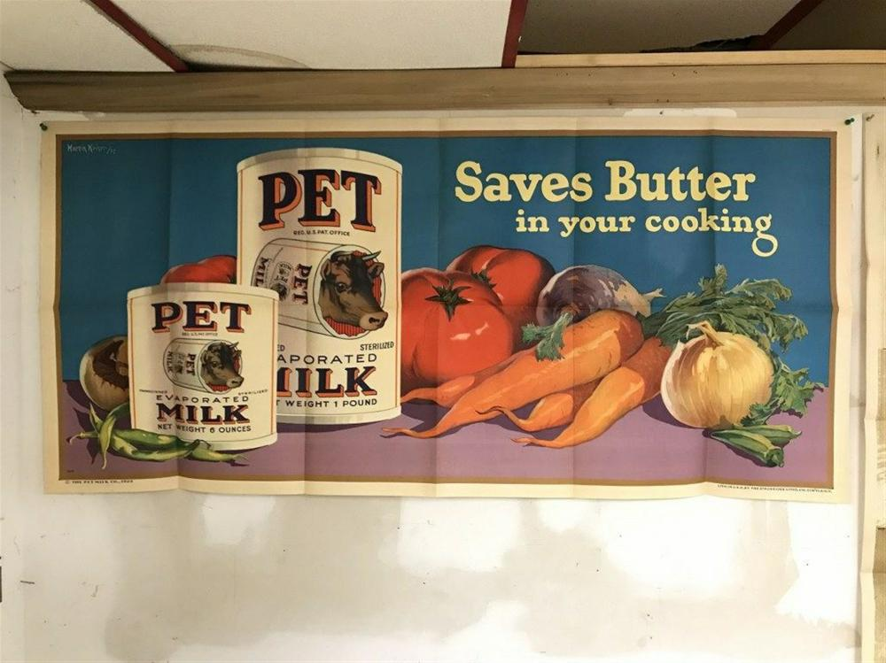 "POSTER- PET EVAPORATED MILK 1926, ARTIST IS MARTIN KAISER, IN VERY NICE CONDITION, CAN SHIP FOLDED, MEASURES 28"" X 59""."