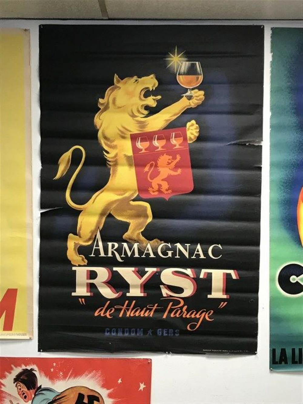 "POSTER- ARMAGNAC RYST DE HAUT PARAGE, HAS TEARS ON BORDERS, NEEDS TO BE LINEN BACKED, POSTER MEASURES 59"" X 39""."