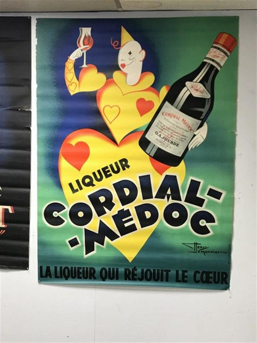 "POSTER- CORDIAL MEDOC LA LIQUEUR QUI REJOUIT LE COEUR, SOME SMALL TEARS AND RIPS ON BORDERS, POSTER MEASURES 61"" X 45""."