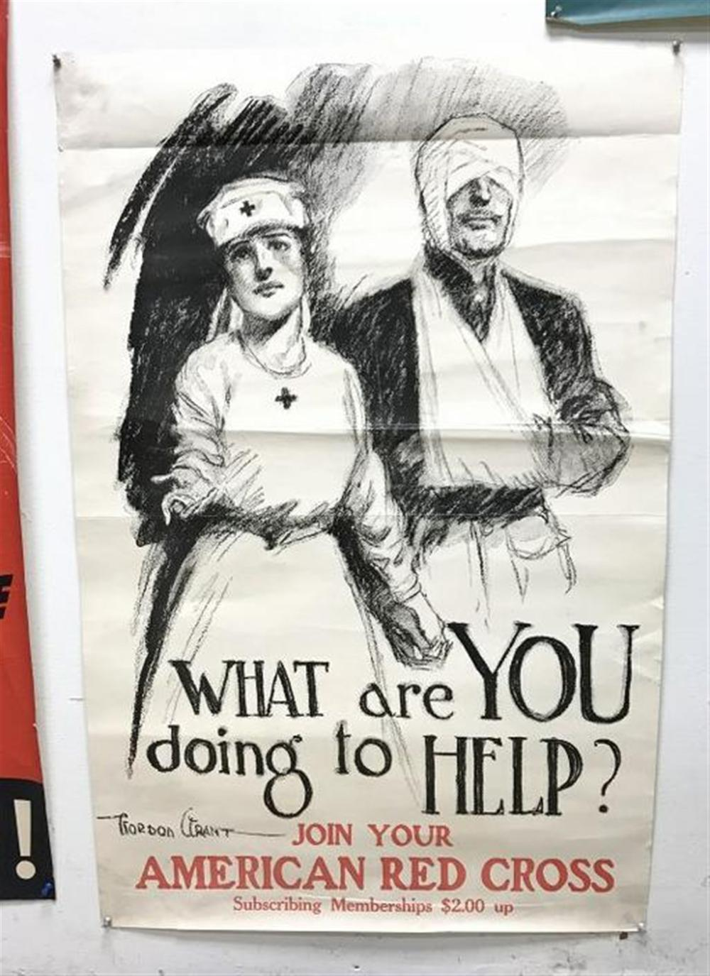 "POSTER- WW I AMERICAN RED COSS BY GORDON GRANT, SOME CRINKLES, MEASURES 38 3/4"" X 25""."