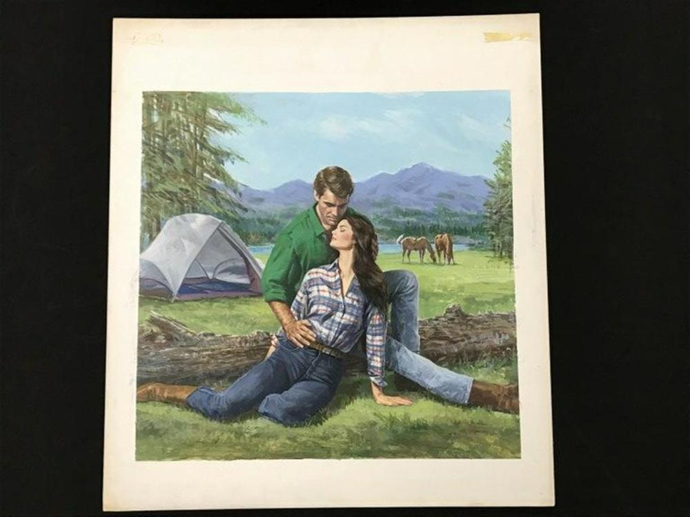 "ORIGINAL HARLEQUIN ROMANCE NOVEL FRONT COVER ILLUSTRATION, BY BARNETT PLOTKIN, SIGNED IN PENCIL, THE BOOK WAS TITLED AN UNLIKELY COMBINATION, JULY 1988.  THE BOARD MEASURES 20"" X 18"".  FROM A COLLECTION WE ARE SELLING."