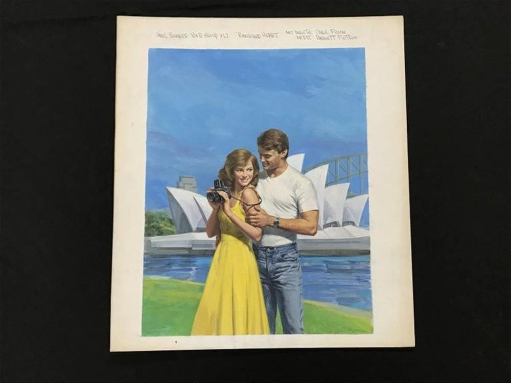 "ORIGINAL HARLEQUIN ROMANCE NOVEL COVER ILLUSTRATION, BOOK TITLED RANSOMED HEART, MAY 1989. MEASURES 20"" X 17 1/2"". FROM COLLECTION WE ARE SELLING. ARTIST IS BARNETT PLOTKIN."