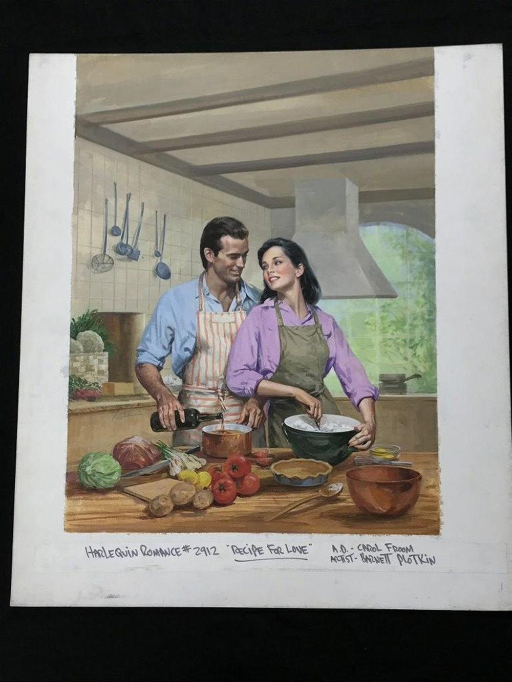 "ORIGINAL HARLEQUIN ROMANCE ILLUSTRATION FOR COVER, BOOK TITLED RECIPE FOR LOVE, ARTIST IS BARNETT PLOTKIN.  CIRCA LATE 1980'S, MEASURES 20"" X 17 1/2"". FROM COLLECTION WE ARE SELLING."