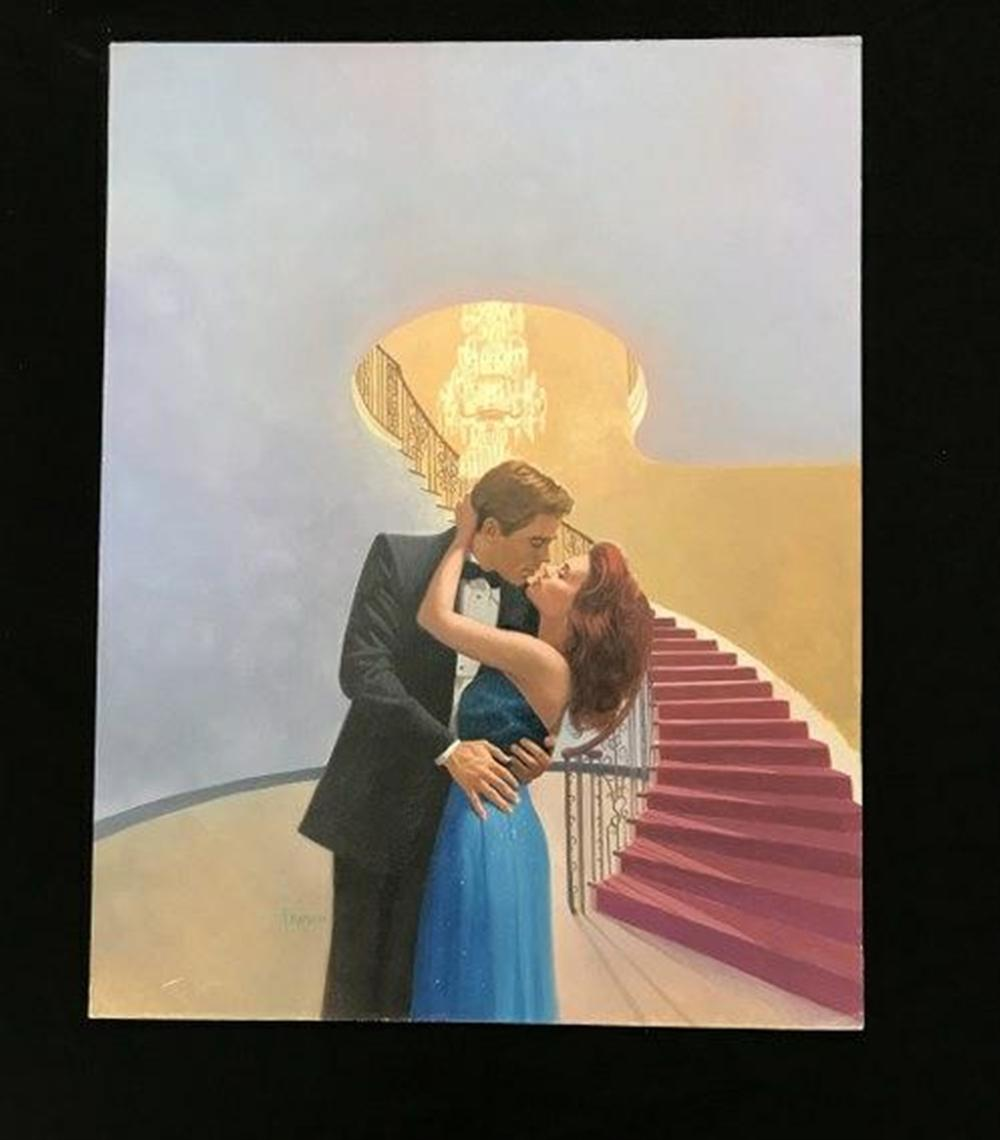 "ORIGINAL ROMANCE NOVEL ILLUSTRATION FOR FRONTT COVER, TITLED SWEET TEMPTATION, ARTIST SIGNED FRANCO, INFORMATION ON BACK, AS PICTURED. MEASURES 20"" X 15 1/4"". FROM COLLECTION WE ARE SELLING."