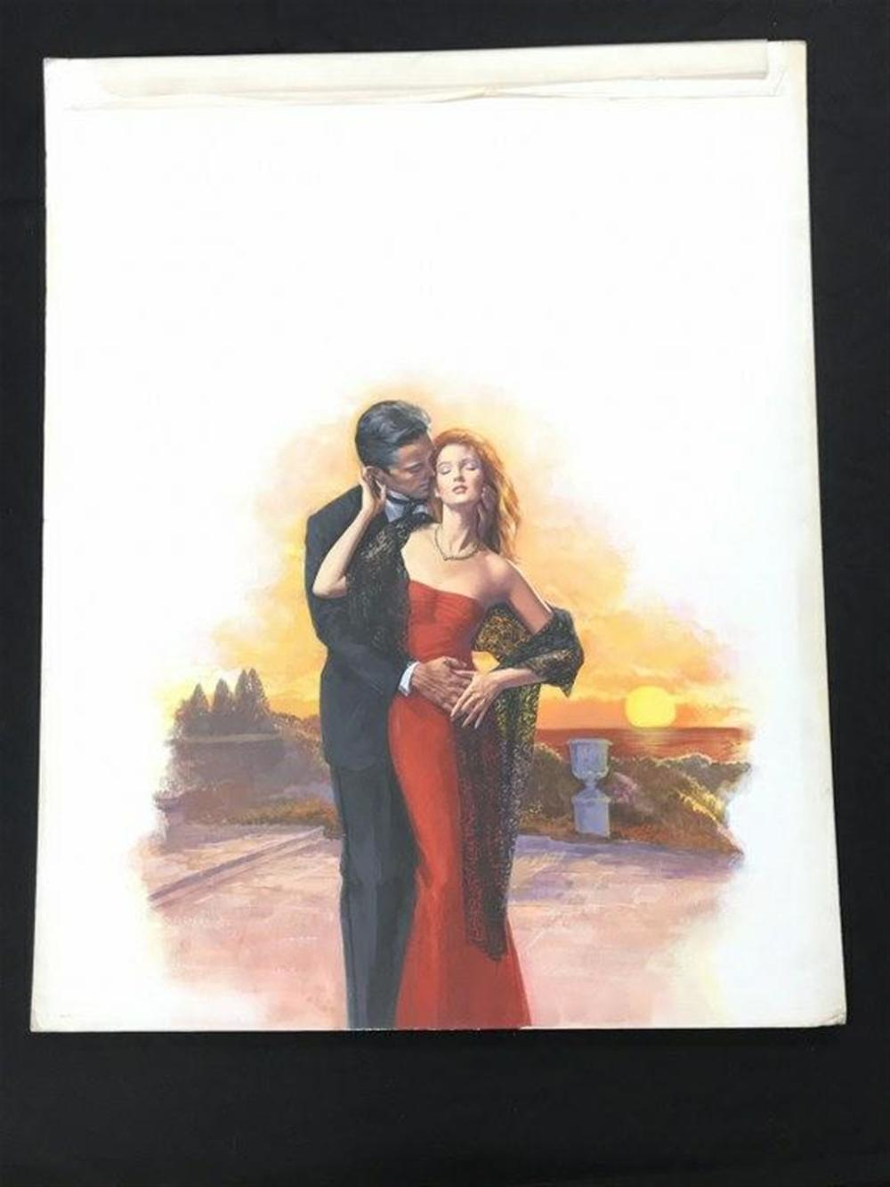 "ORIGINAL ROMANCE NOVEL FRONT COVER ILLUSTRATION BY BARNETT PLOTKIN, BOOK TITLED THE BARON. JANUARY 1988, BANTAM BOOKS, MEASURES 25"" X 20"", FROM A COLLECTION WE ARE SELLING."