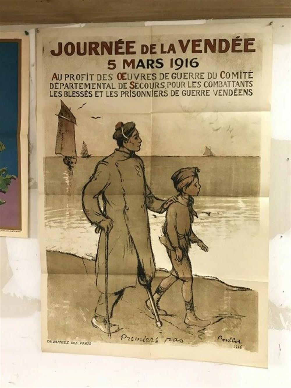 "POSTER FRENCH WW I (1916) A FEW SMALL CREASE SEPARATIONS, MEASURES 45"" X 31"", CAN SHIP FOLDED."