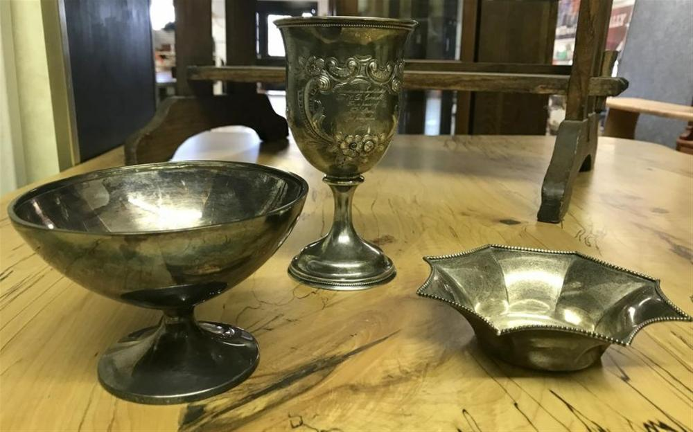 "(3) PCS. STERLING SILVER FROM HUDSON VALLEY MONASTERY, INCLUDES SMALL BOWL WITH DINGS ON BOTTOM, BAILEY, BANKS & BIDDLE BOWL ON PEDESTAL BASE, INSCRIBED WITH CROSS, ONE FAITH, ONE LORD, ONE BAPTISM & UNMARKED PRESENTATION GOBLET OR CUP, INSCRIBED AMERICAN INSTITUTE TO R D CORNELL, FOR A PAIR OF FAT STEERS FED FROM CALVES 1858, MEASURES  1/4"" HIGH, WITH FANCY FLORAL WORK ALL THE WAY AROUND. 3 PIECES WEIGH 12.69 TROY OUNCES."