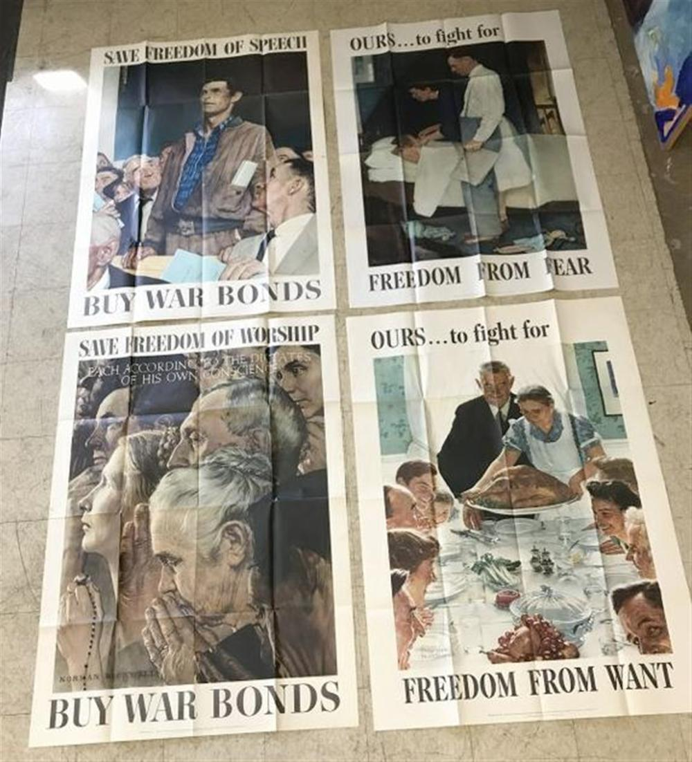"NORMAN ROCKWELL SET (4) LARGE WW II POSTERS, THE SET IS IN OVERALL NICE CONDITION, DATED 1943, THEY MEASURE  55 1/2"" X 40"", SHIP FOLDED, FROM COLLECTION WE ARE SELLING."