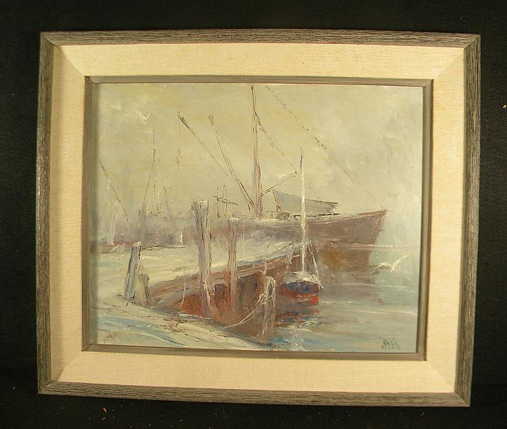 CHRIS BENVIE (1919-1995) O/B IMPRESSIONIST BOATS AT DOCK