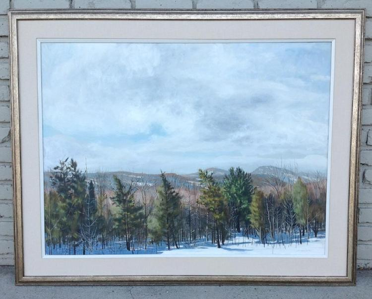ROBERT ANGELOCH O/C WOODSTOCK, N.Y. HUDSON VALLEY LANDSCAPE, WITH BEAUTIFULLY SNOW CAPPED MAOUNTAINS IN BACKGROUND. SIGNED LOWER RIGHT, CANVAS MEASURES 30