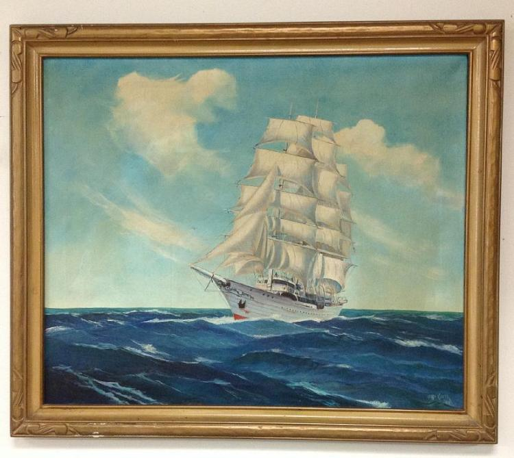OTTO KURTH 1942 O/C LARGE SAILBOAT AT SEA, IN PERIOD CARVED FRAME, CANVAS MEASURES 25 1/2
