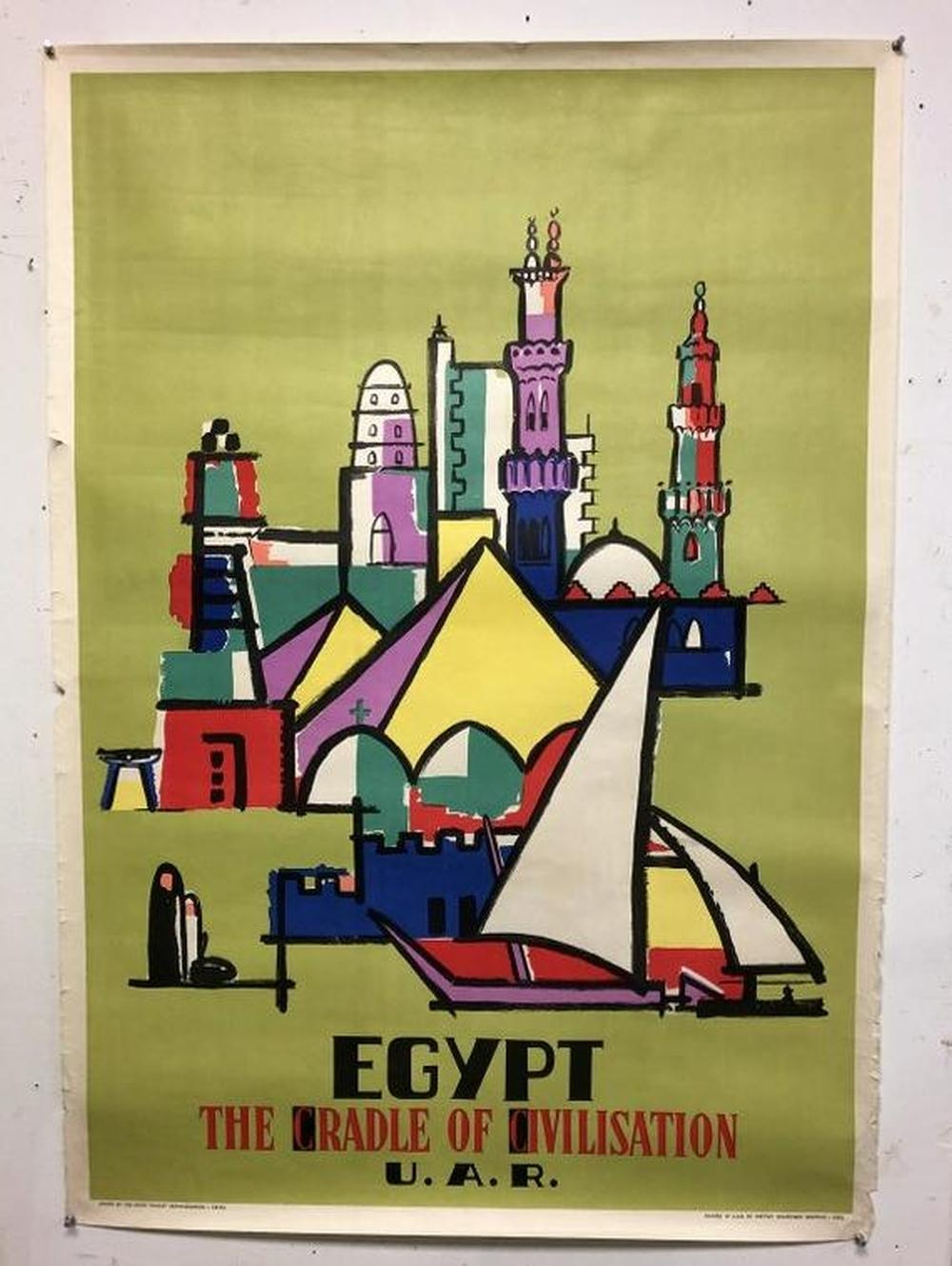 "1959 EGYPT TRAVEL POSTER, MEASURES 40"" X 28"", SOME"